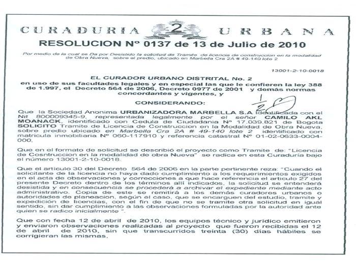 Licencia que aparece en la página web de la Curaduría