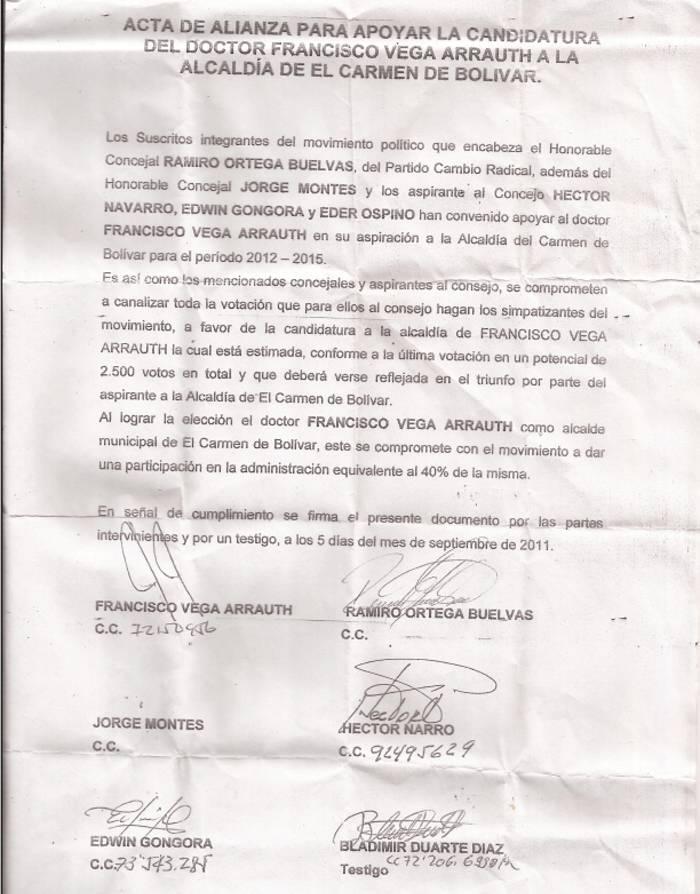 Apareció carta de presunta alianza política en El Carmen de Bolivar - El Universal - Cartagena