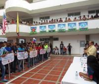 Mario Ramos, rector de Unicolombo, declaró inauguradas las Olimpíadas Deportivas.