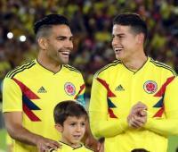 Falcao y James durante despedida de la Selección Colombia en el Campín de Bogotá.