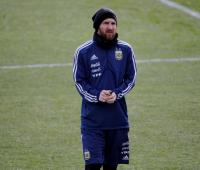 Lionel Messi entrenando con la Selección Argentina.