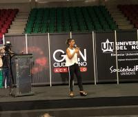 La ministra de educación, Yaneth Yiha en la Universidad del Norte de Barranquilla.