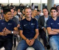 Nairo Quintana, Alejandro Valverde y Mikel Landa en la presentación del equipo Movistar para el Tour de Francia 2018.