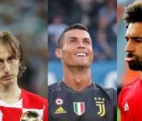 El croata Luka Modric, el portugués Cristiano Ronaldo y el egipcio Mohamed Salah