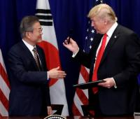 Trump y el presidente surcoreano, Moon Jae-in