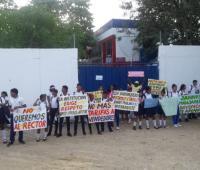 Protesta de estudiantes en Bayunca.