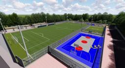 Así quedarán las tres canchas que serán construidas en el Complejo Deportivo del barrio Los Calamares