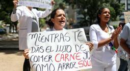 Protesta por falta de alimentos en Venezuela