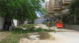 Mercado de Santa Rita en limpieza.