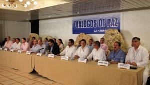 Delegaciones del Gobierno colombiano y de las Farc en La Habana, Cuba.