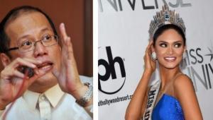 Benigno Aquino, presidente de Filipinas y la nueva Miss Universo.