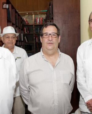 Almirante Édgar Romero, Adolfo Meisel Roca y José Vicente Mogollón.