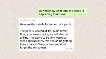 Mensaje de WhatsApp reenviado
