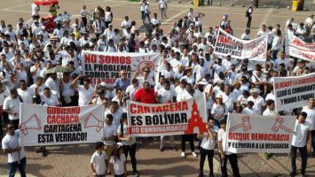 Protesta de comerciantes en Cartagena.
