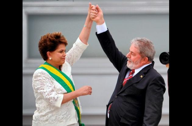 Presidenta de Brasil, Dina Rousseff y el ex presidente de Brasil Lula da Silva.