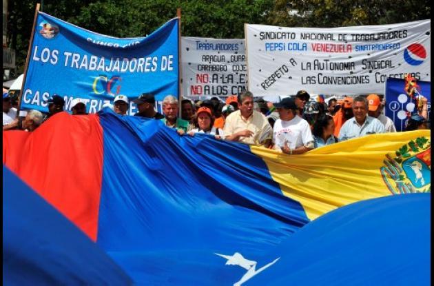 Manifestantes en protesta en Venezuela