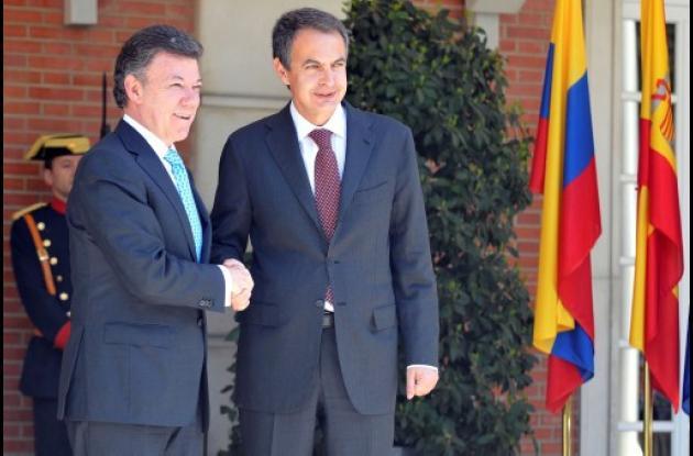Juan Manuel Santos y José Luís Rodríguez Zapatero
