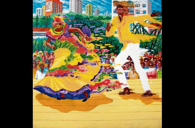 """""""Baile negro de Baranoa"""" (2009). 100x100 cms."""