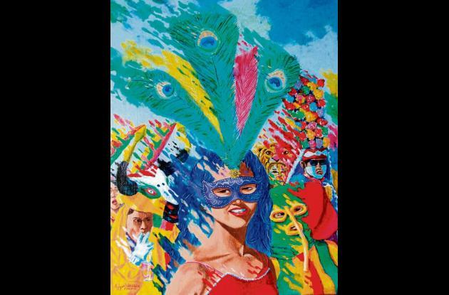 """""""Chica con máscara"""" (2011). 36x46 cms."""