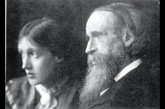 Virginia Woolf junto a au padre.