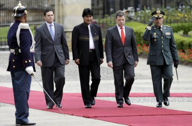 Juan Manuel Santos y Evo Morales