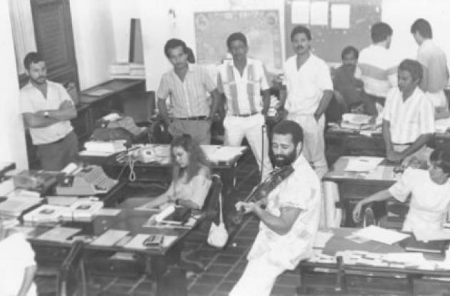 La sala de redacción de El Universal, en  1986.