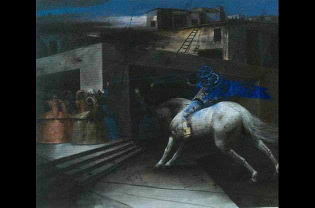 """Caballo de noche roja"" (2011). 75x110.  Pastel sobre papel."