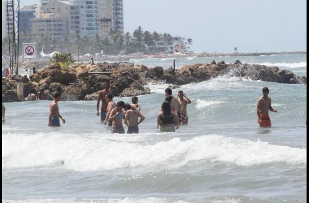 Mar de leva en Cartagena.