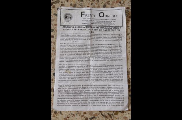 Este es el comunicado en el que la USO asegura que la muerte de los trabajadores de CBI se debe a una bacteria en la planta.
