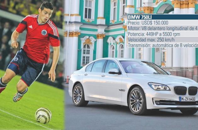James Rodríguez, prefiere su BMW 750Li sedán.