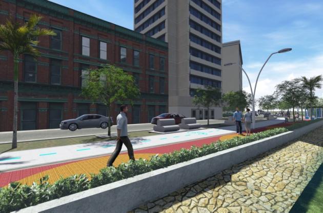 Esta es una imagen digitalizada que muestra como lucirá el paseo peatonal.
