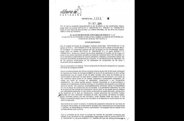 Decreto expedido por la Alcaldía. Página1.