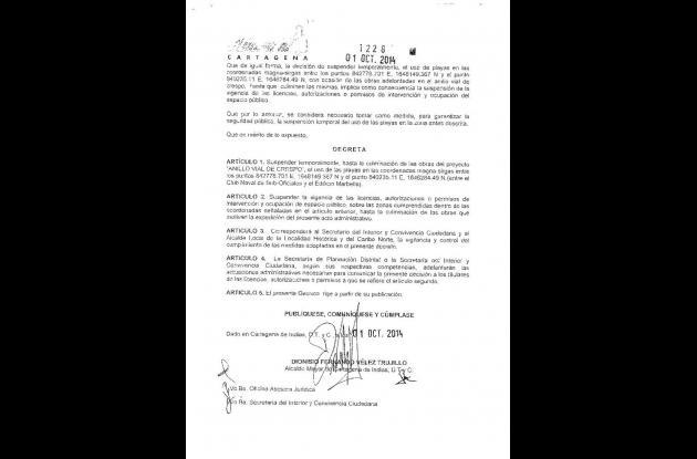 Decreto expedido por la Alcaldía. Página 3.