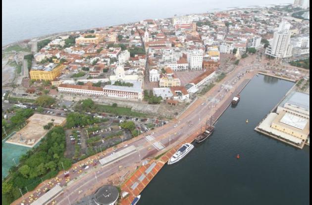 Ruta de Transcaribe en el sector del Centro Histórico de Cartagena.