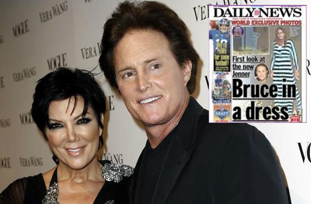 Bruce Jenner y su expareja Kris Kardashian. Arriba la portada de Daily News con la primicia.