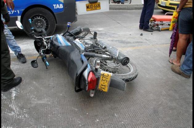 Esta es la moto que arrolló a Pedro Peña en la Avenida Pedro de Heredia.