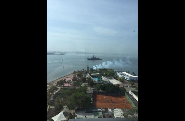 Arribo del buque japonés a Cartagena.