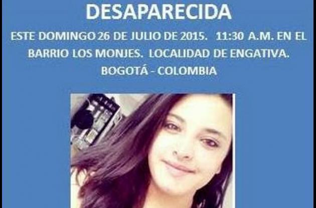 Natalia Andrea se encontraba desaparecida desde el pasado 26 de julio, fecha en la cual, según los trabajadores del motel, ingresó al cuarto en compañía de Fernán.