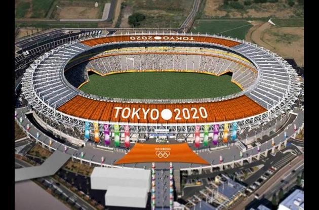 Estadio con el logo de los Juegos Olímpicos de Tokio 2020.