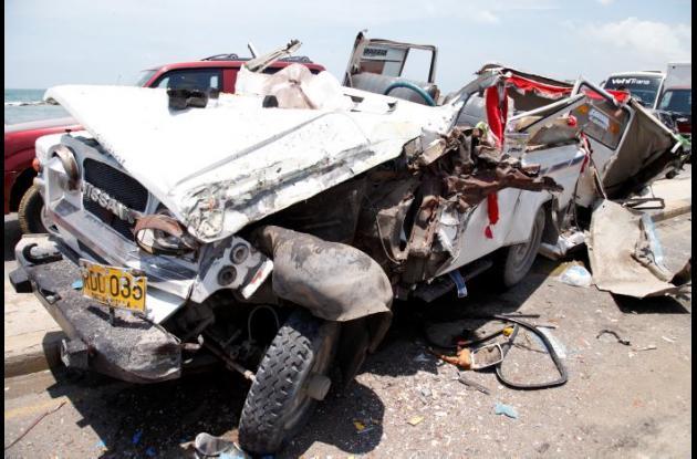 Accidente en la Avenida Santander en el que salió herido Calixto Peñate, quien luego murió.