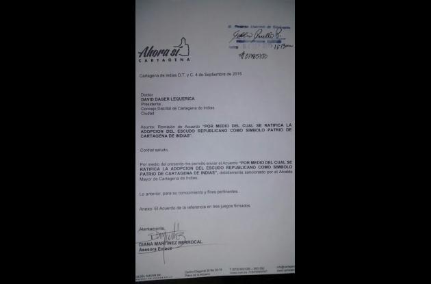 Alcalde sanciona escudo republicano para Cartagena