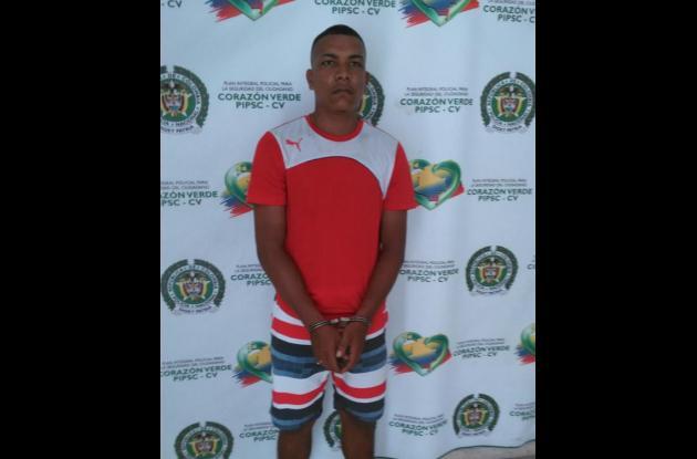 Reiner José Brown Miranda, de 23 años, capturado por presuntamente expender drogas.