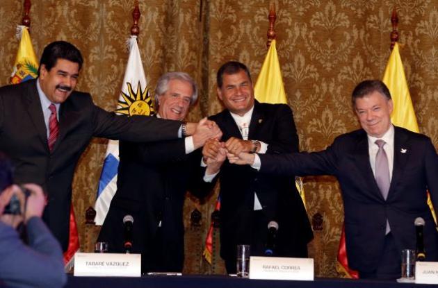 Santos y Maduro se reúnen en Quito
