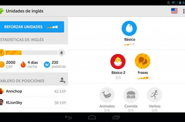 Aplicación de Duolingo.