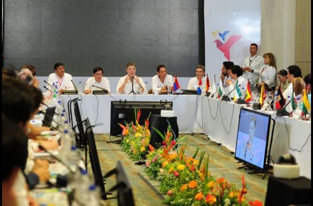 El presidente Juan Manuel Santos en X Cumbre de Ciudades por la Paz en Montería.