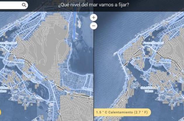 El mapa muestra los niveles del mar que podrían darse en este siglo, y ocurrir en el año 2.200, están basados en la investigación científica revisada y dirigida por Benjamin Strauss y Scott Kulp de la organización Climate Central.