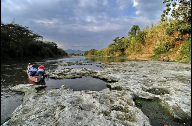 Vereda Cauca en el municipio de Cartago. En cartago uno de los puntos con mayor evidencia de descenso de los niveles del río Cauca en el norte del departamentoValle.