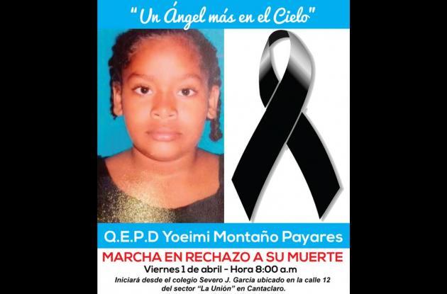 Encontraron muerta a niña desaparecida en Montería.