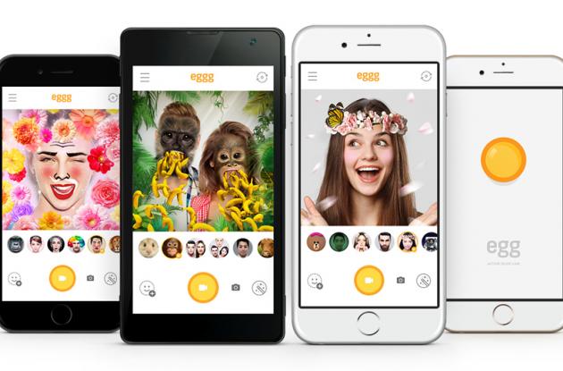 Egg es una aplicación de Line que permite usar filtros especiales en tu cara cuando te tomas una selfie.