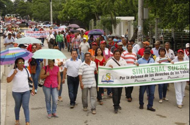 Movilización de los docentes sucreños ayer en Sincelejo.